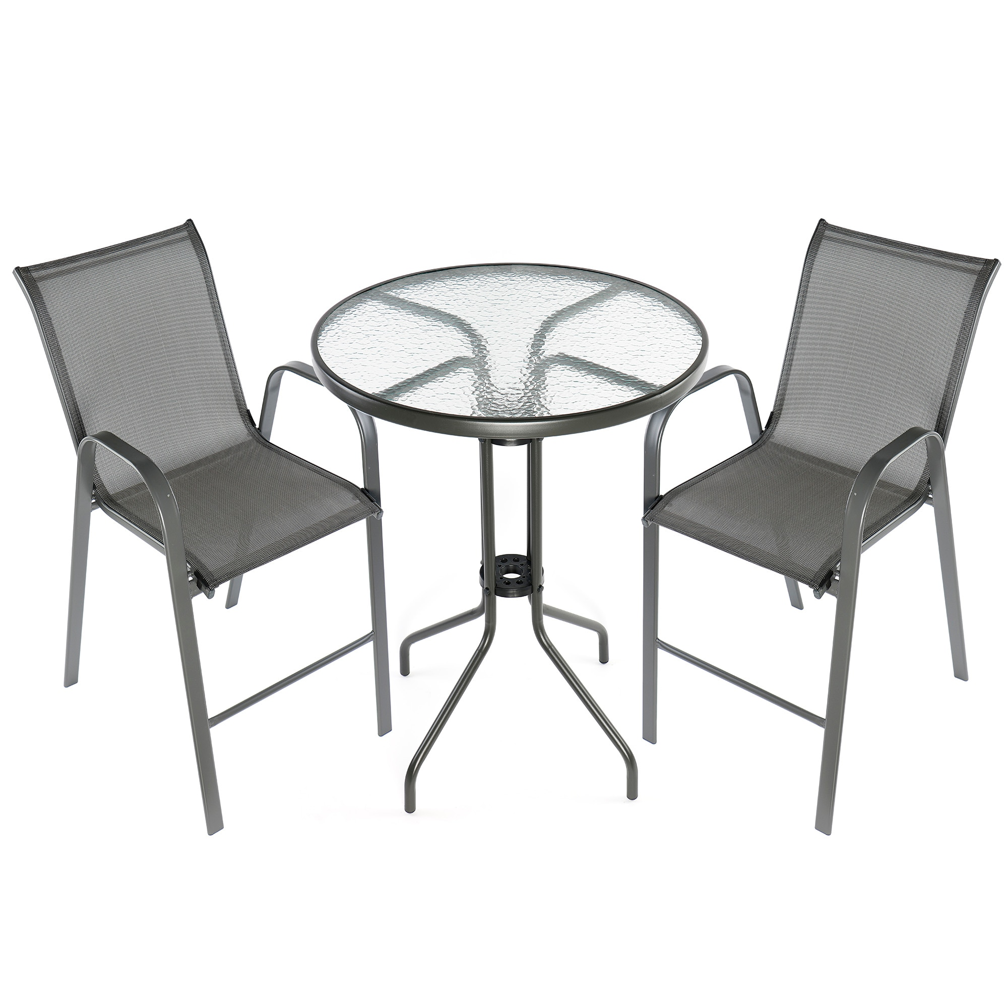 Fotografie Set mobilier gradina/terasa/balcon Kring Bruxelles Bar, masa, 2 scaune, metal/sticla, gri