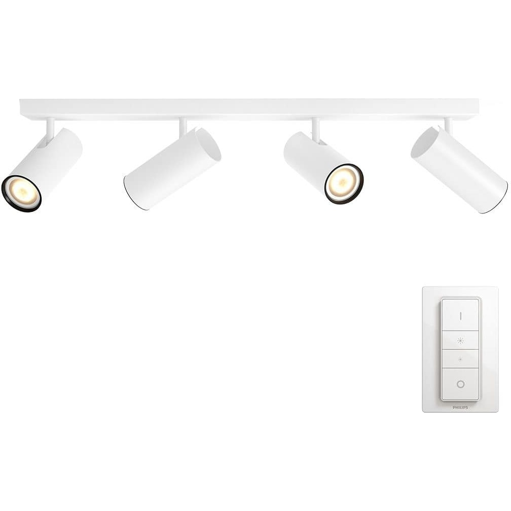 Fotografie Spot luminos Philips HUE Buratto, LED, GU10, 4 x 5.5W (25W), 250 lumeni, A+, lumina alba rece, Alb + Variator wireless
