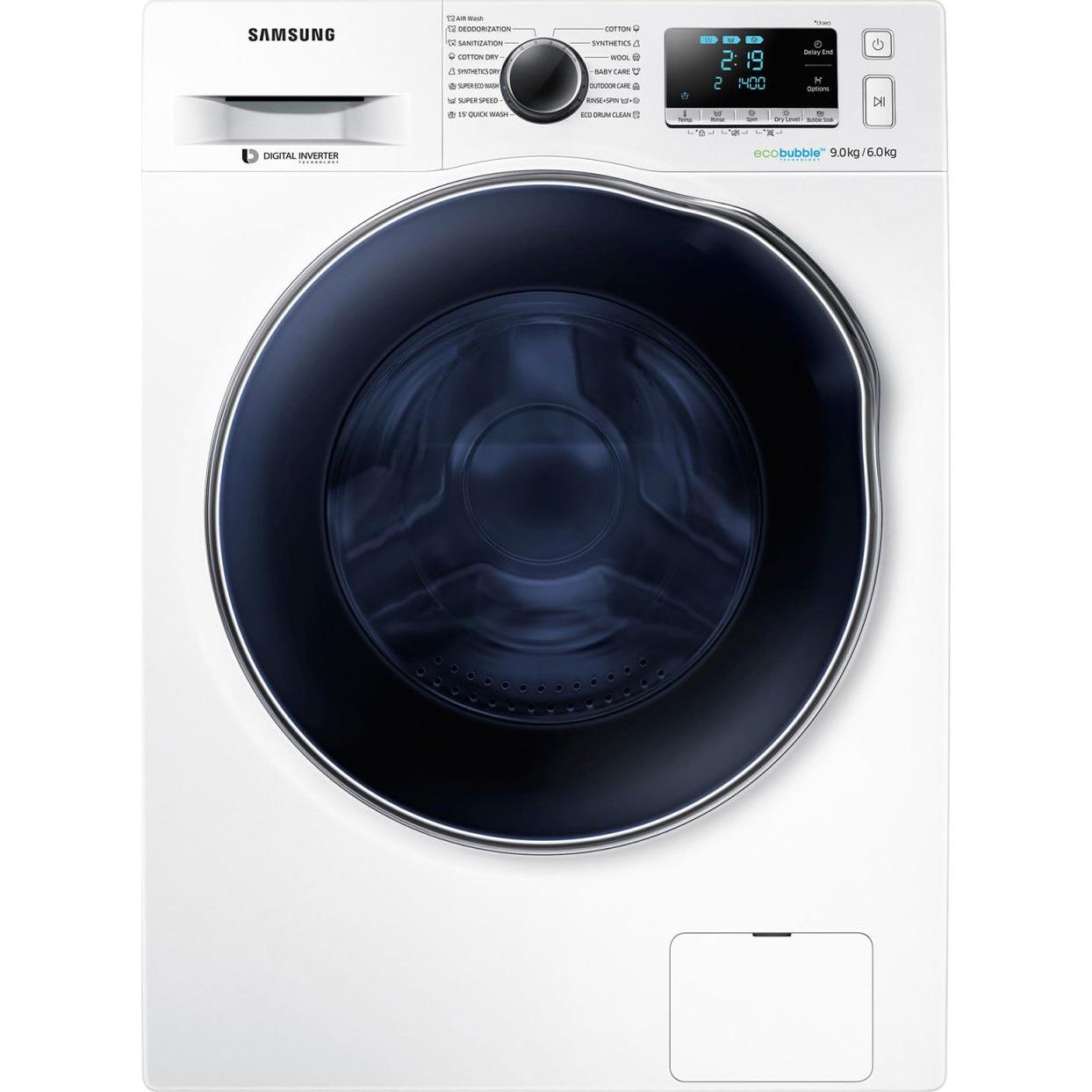 Fotografie Masina de spalat rufe cu uscator Samsung WD90J6A10AW/LE, 1400 RPM, 9kg spalare / 6kg uscare, Clasa A, Motor Digital Inverter, EcoBubble, Alb
