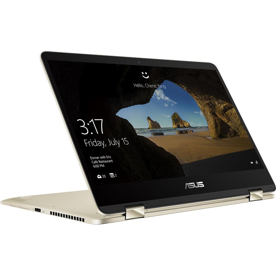 "Fotografie Laptop 2 in 1 ASUS ZenBook Flip UX461UA-E1013T cu procesor Intel® Core™ i5-8250U pana la 3.40 GHz, Kaby Lake R, 14"", Full HD, Touch, 8GB, 256GB SSD, Intel HD Graphics 620, Microsoft Windows 10, Gold"