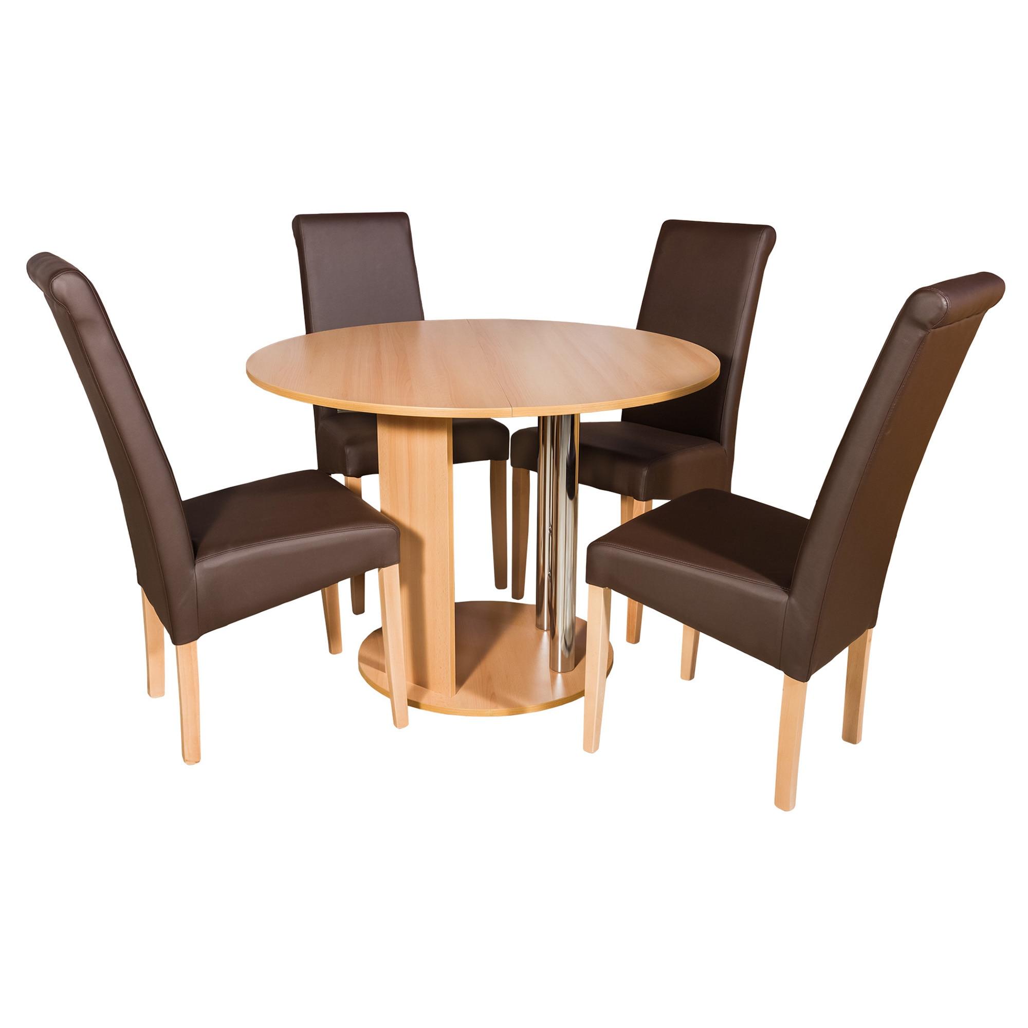 Fotografie Set masa Rondell si 4 scaune Cristoff Elvila, fag
