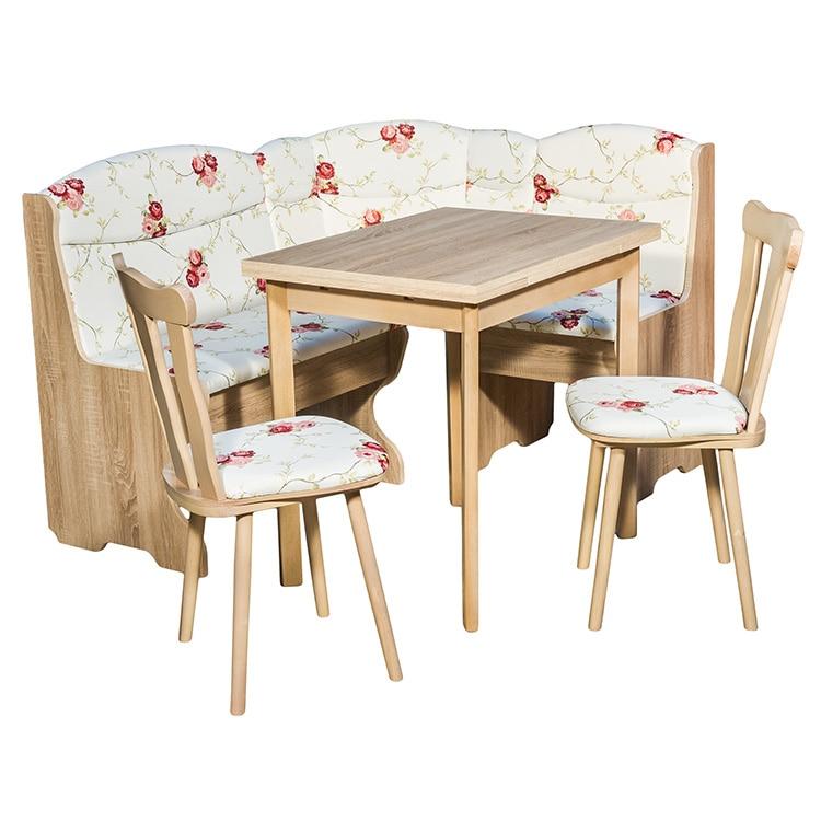 Fotografie Set coltar bucatarie cu masa extensibila si 2 scaune Palermo Elvila, Sonoma Fl. Red