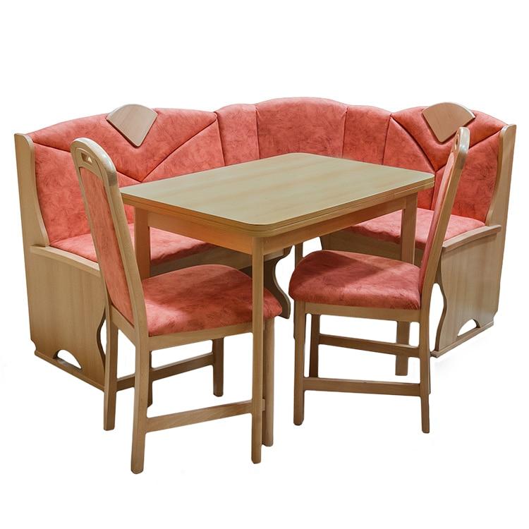Fotografie Set coltar bucatarie cu masa extensibila si 2 scaune Meran Elvila, fag, M.8022