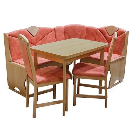 Комплект мебели за кухня Meran Elvila, Кухненски ъгъл, разтегателна маса и 2 стола, Бук, M.8022