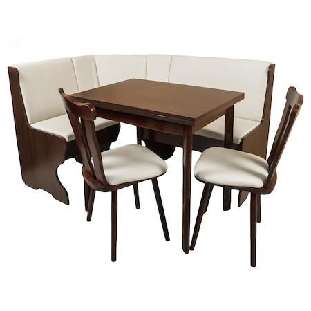 Комплект мебели за кухня Porto Schoko Elvila, CY1112, Кухненски ъгъл, разтегателна маса и 2 стола