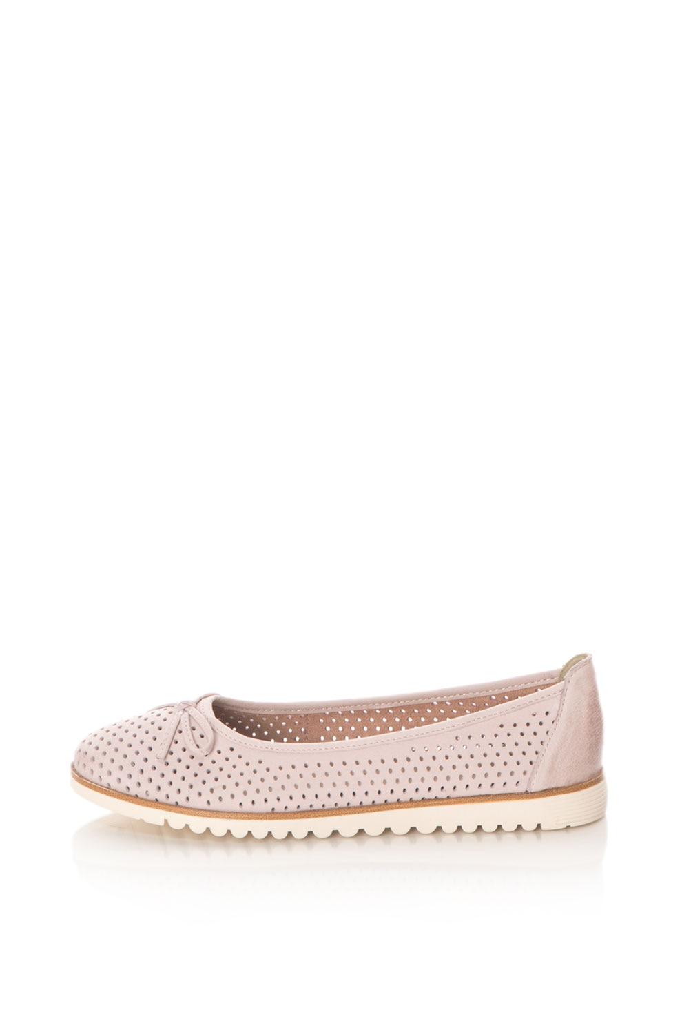 Tamaris, Bőr balerina cipő perforált hatással, halvány rózsaszín, 41