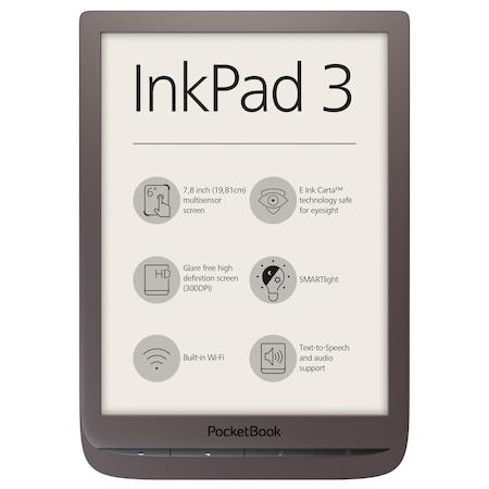 "eBook Reader PocketBook Inkpad 3, 7.8"" E Ink Carta,, 8 GB, Audio out, SMARTlight, Кафяв"