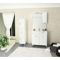 Kring Smart Fürdőszoba szekrény, 2 jobbra nyíló ajtó, 1 fiók, 31.5x148x33.5cm, Fehér