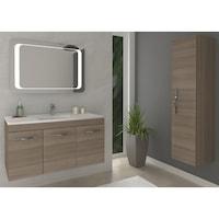 Kring Corallo Fürdőszoba szekrény, 1 jobbra nyíló ajtó, Függesztett, Soft zsanérok, 31.5x138x33.5cm, Fumo