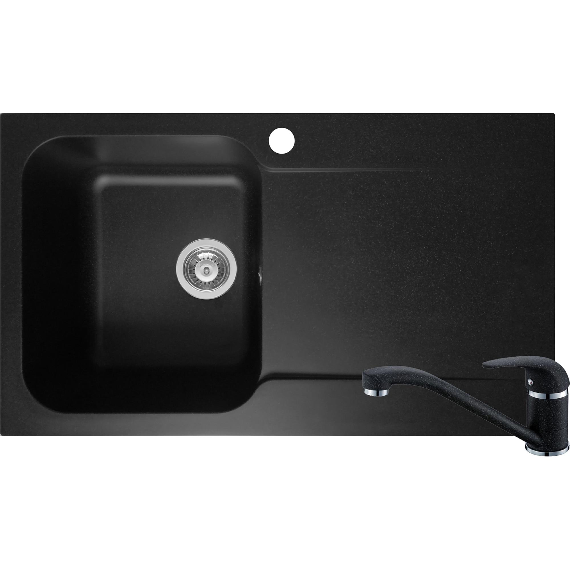 Fotografie Pachet chiuveta soft composite + baterie bucatarie Pyramis Level Artithek, cuva stanga, 860x500 mm, adancime 210mm, Negru