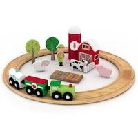 Комплект Дървено Влакче Eurekakids Ферма, 3-9 години, 23 части