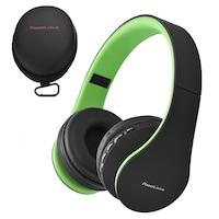 PowerLocus P1 Bluetooth fejhallgató, vezeték nélküli fül köré illeszkedő összehajtható, micro SD, FM Rádió (Zöld)