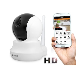 Camera de supraveghere IP WIFI Sricam™ SP020 Plus, FullHD 2MP, Conectare Telefon/PC, Night vision, Rotire automata, rezolutie 1920*1080, senzor miscare, alb/negru