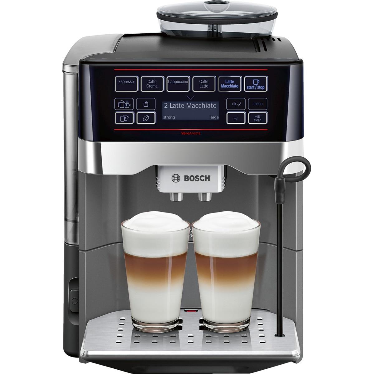 Fotografie Espressor automat Bosch VeroAroma TES60523RW, 1500W, 19 Bar, 1.7 l, Negru/Titaniu