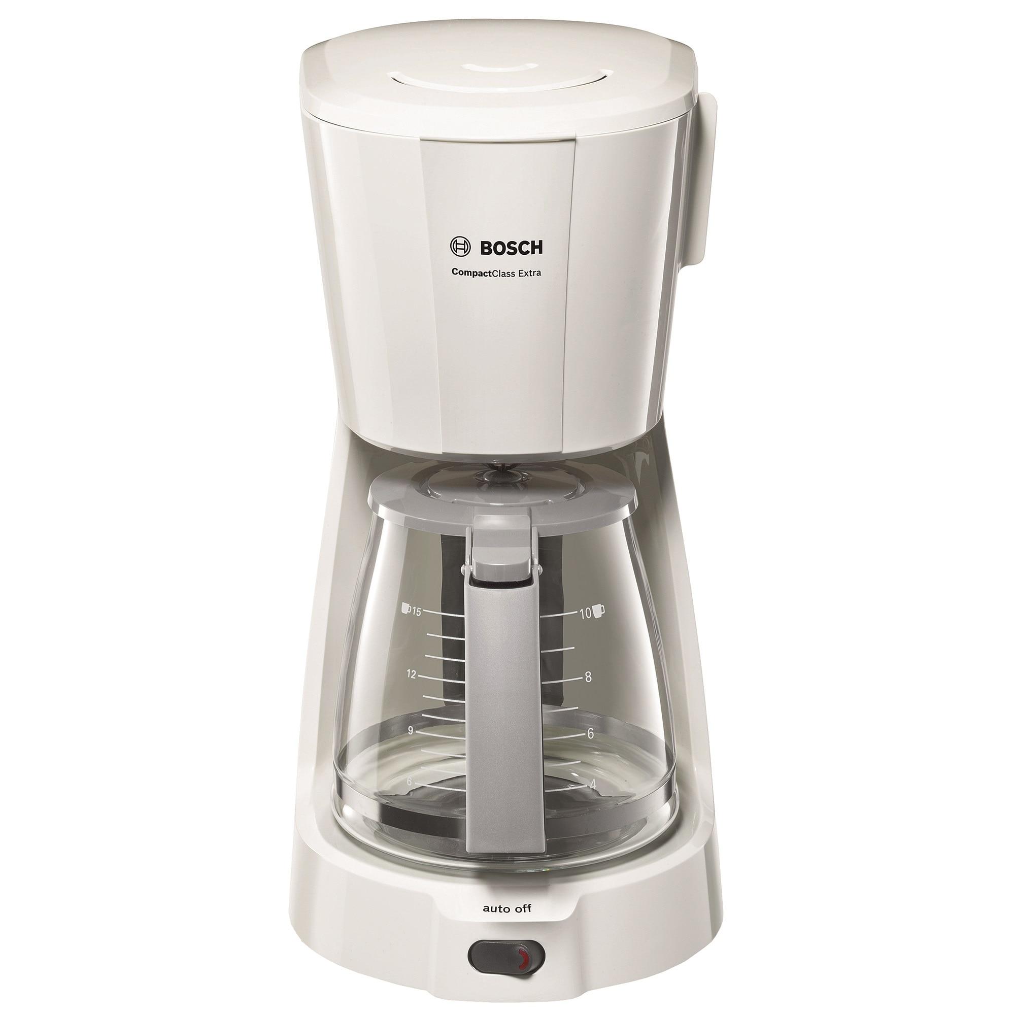 Fotografie Cafetiera Bosch CompactClass TKA3A031, 1.2 l, selector aroma, anti-picurare, oprire automata, alb