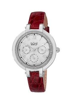 BURGI, Кварцов часовник с кожена каишка и кристали, Тъмночервен