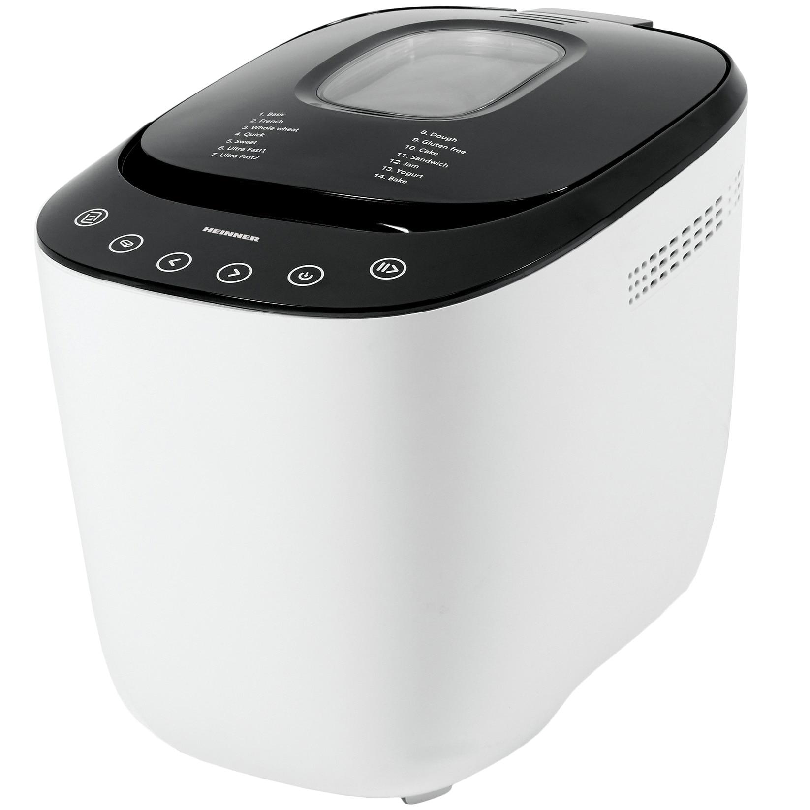 Fotografie Masina de paine Heinner HBM-900WHBK, 550W, Capacitate 750-900G, Touch Control, Timer, Afisaj LCD, Alb