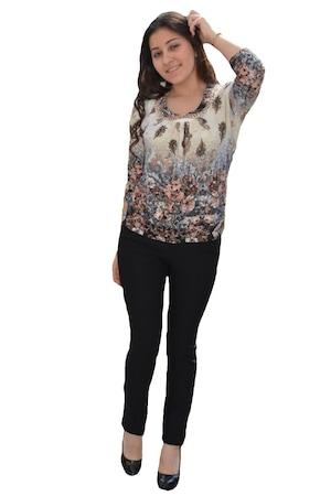 Bluza fashion de primavara cu guler dantelat, D&J Exclusive, Bej/Maro