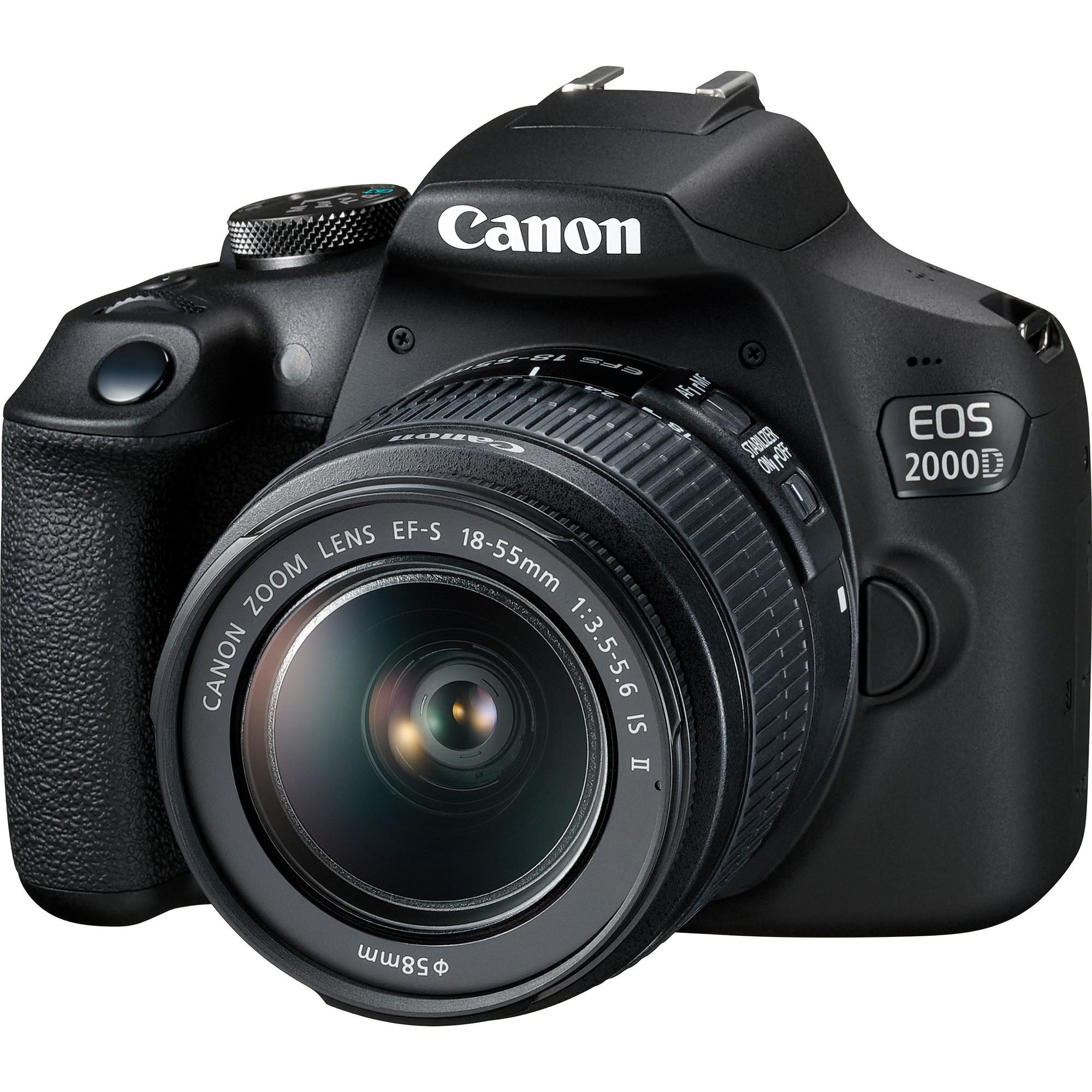 Fotografie Aparat foto DSLR Canon EOS 2000D,24.1 MP, Negru + Obiectiv EF-S 18-55mm IS II