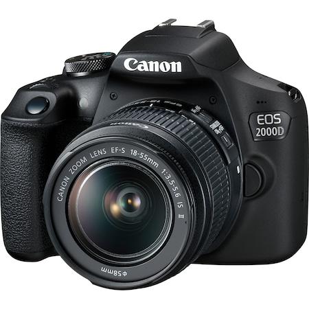 Фотоапарат DSLR Canon EOS 2000D,24.1 MP, Черен + Обектив EF-S 18-55 мм IS II
