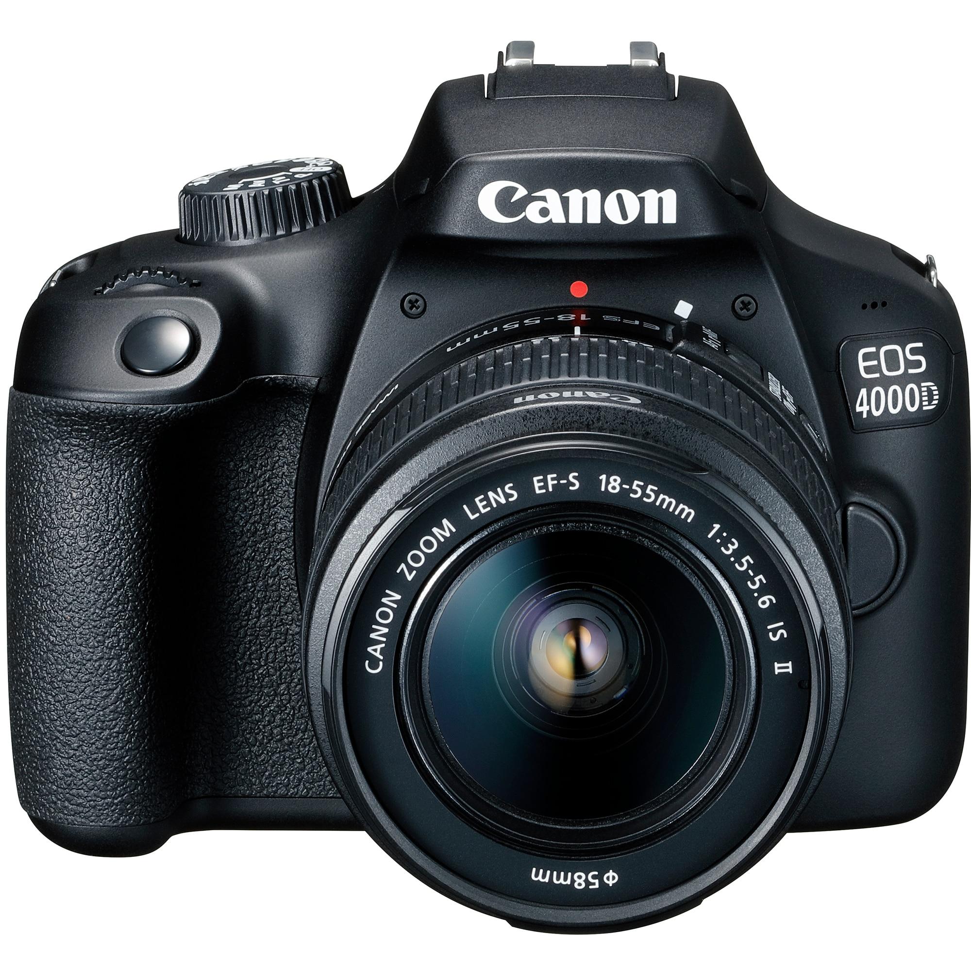 Fotografie Aparat foto DSLR Canon EOS 4000D,18.0 MP, Negru + Obiectiv EF-S 18-55mm F/3.5-5.6 III Negru