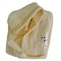 Детски халат за баня с качулка Kalogera Жълт, 8-10 години, С апликация