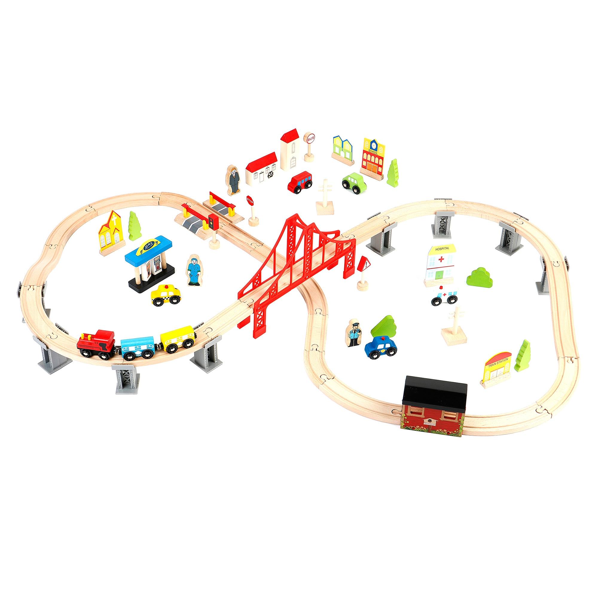 Fotografie Set tren Mappy cu circuit, din lemn