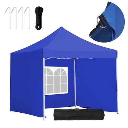 Timeless Tools Fémvázas kerti pavilon 3 oldalfallal és hordtáskával, 2,9x2,9 méter, Összecsukható, Kék