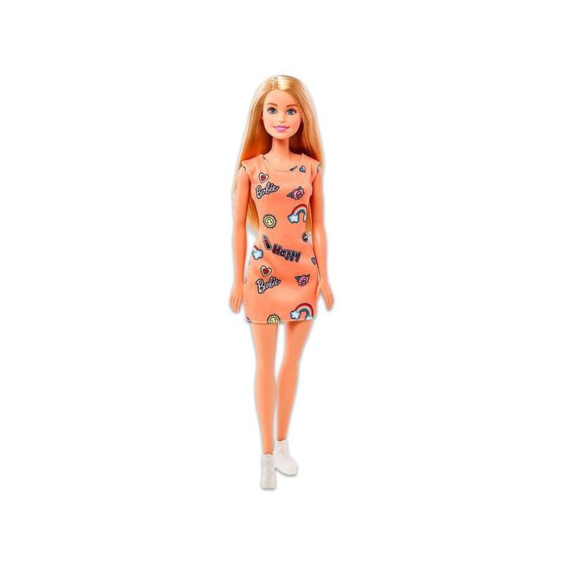 Barbie: Szőke hajú vékony Barbie baba rózsaszín ruhában