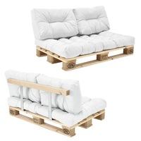 Canapea fixa Europalet Model A, en.casa, 120 x 80 x 12 cm, cu 1 palet, alb