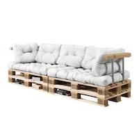 Canapea fixa Europalet Model D, en.casa, 120 x 80 x 12 cm, cu 4 paleti, alb