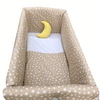 Maxi babaágy oldalvédő rögzíthető szett 120x60 cm Deseda Csillag bézs
