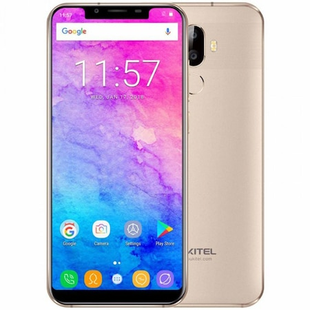 Telefon mobil Oukitel U18, 4G, Dual SIM, Octa-Core, 5.85-inch HD+ 21:9, 4GB RAM, 64GB, Dual Camera 16.0MP+5.0MP, Android 7.0, 4000mAh, Gold