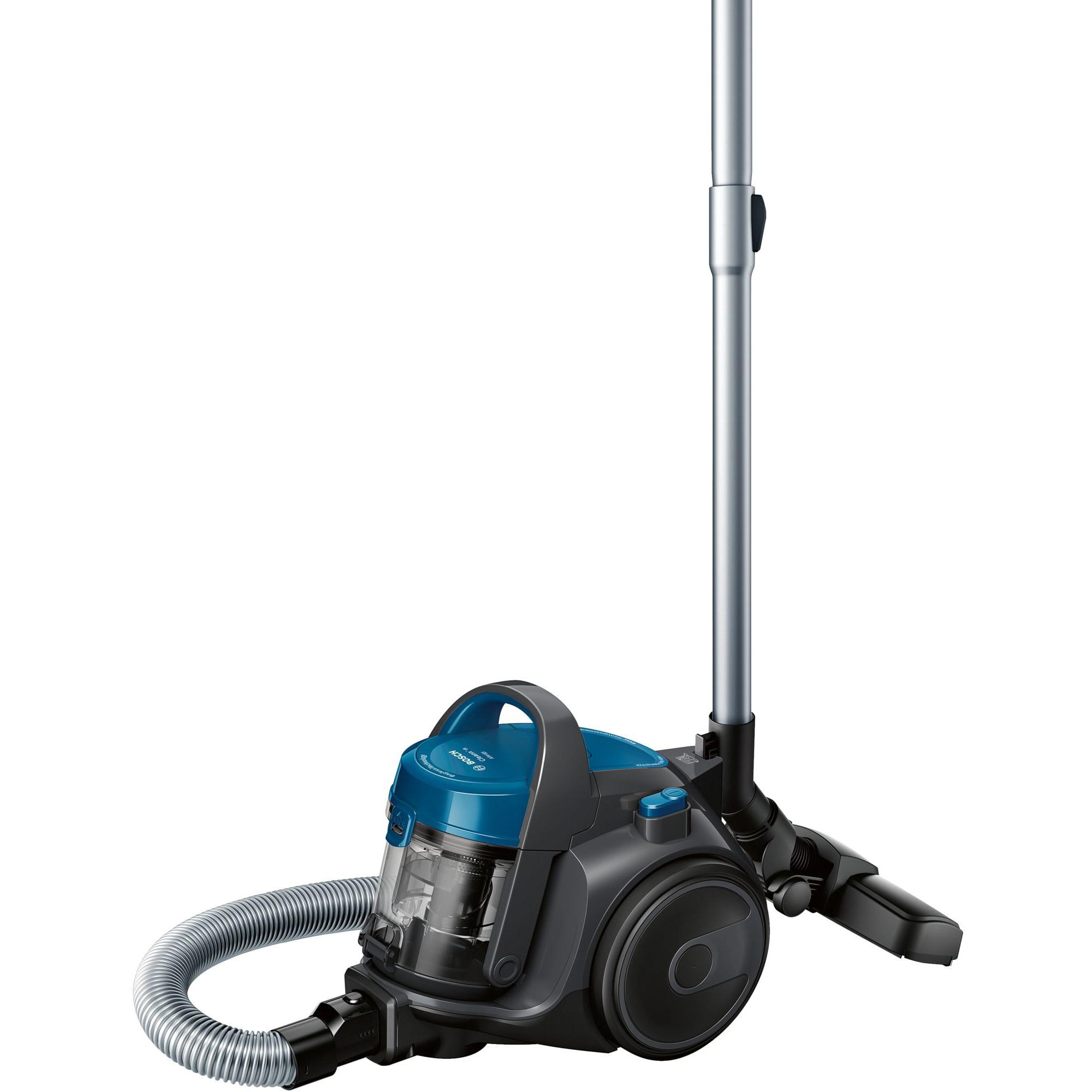 Fotografie Aspirator fara sac Bosch BGS05A220, 700 W, 1.5 l, 3 A, Filtru igienic PureAir, Negru/Albastru
