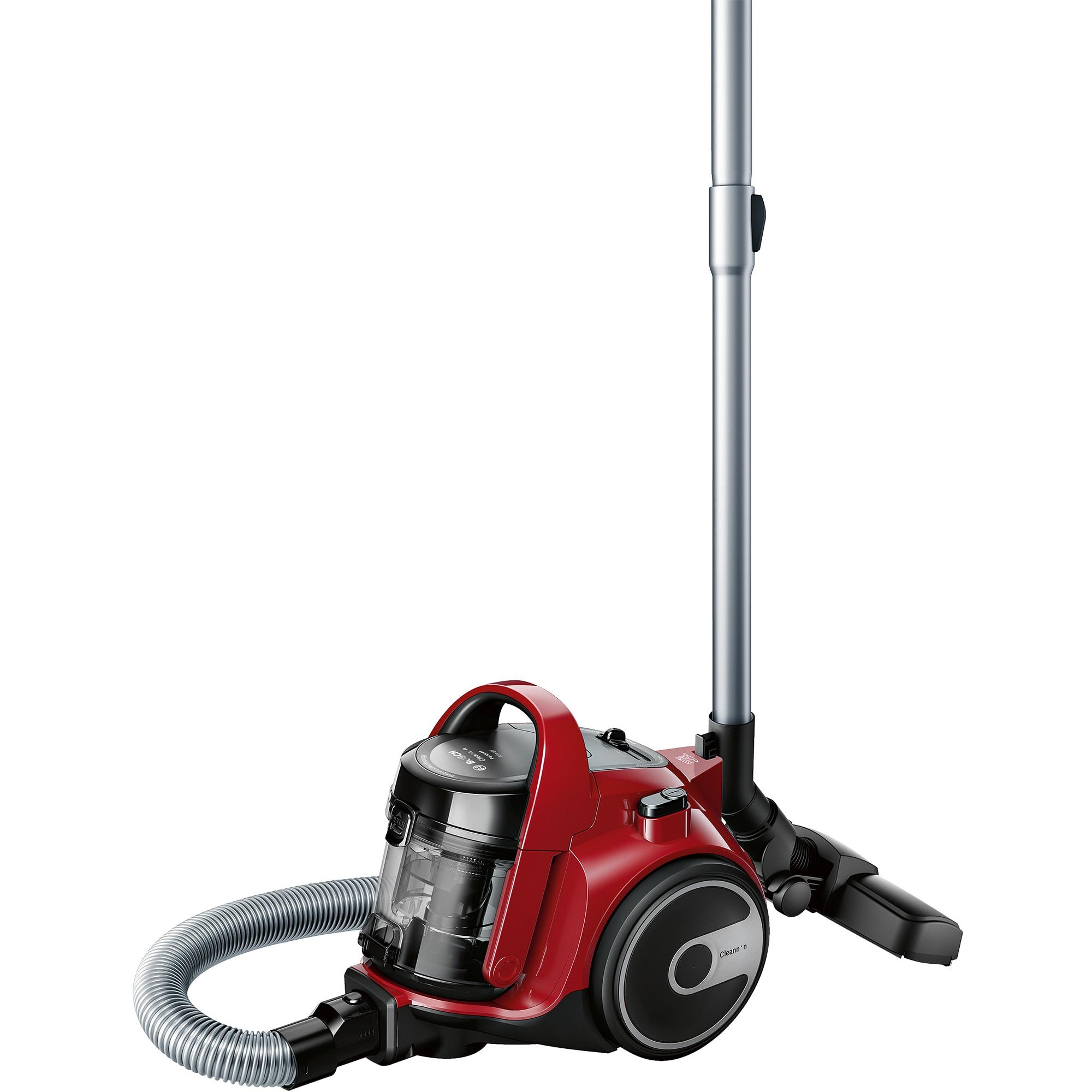 Fotografie Aspirator fara sac Bosch 3A BGC05AAA2, 700W, 1.5 l, Filtru igienic PureAir, Perie parchet, Easy Clean, Rosu/Negru