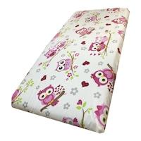 Pamut lepedő 120x60 cm gumírozott sarokkal Deseda Bagoly rózsaszín