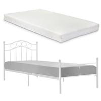 [en.casa]® Egyszemélyes ágy Split hideghab matrac 120 x 200 cm fémkeretes vintage ágykeret design ágy fehér