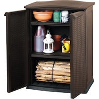 Градински шкаф KETER Ratan Style Utility, 70 x 50 x 92, Пластмаса, Външен вид на ратан, Антрацитно сив