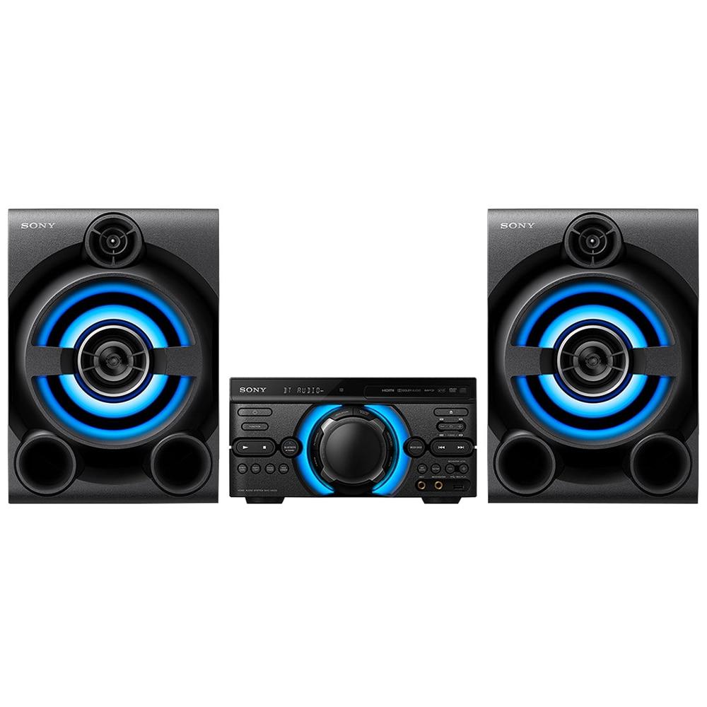 Fotografie Sistem audio High Power Sony MHC-M60D, Mega Bass, Hi-Fi, Party Music, Bluetooth, Wireless Party Chain, USB, DVD, 2050W, Negru