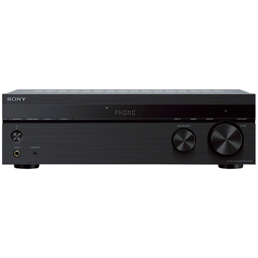 Fotografie Receiver AV SONY STR-DH190, Stereo, Hi-Res, Intrare Phono, 2 x 100W, Amplificator, Bluetooth, Tuner FM, Negru