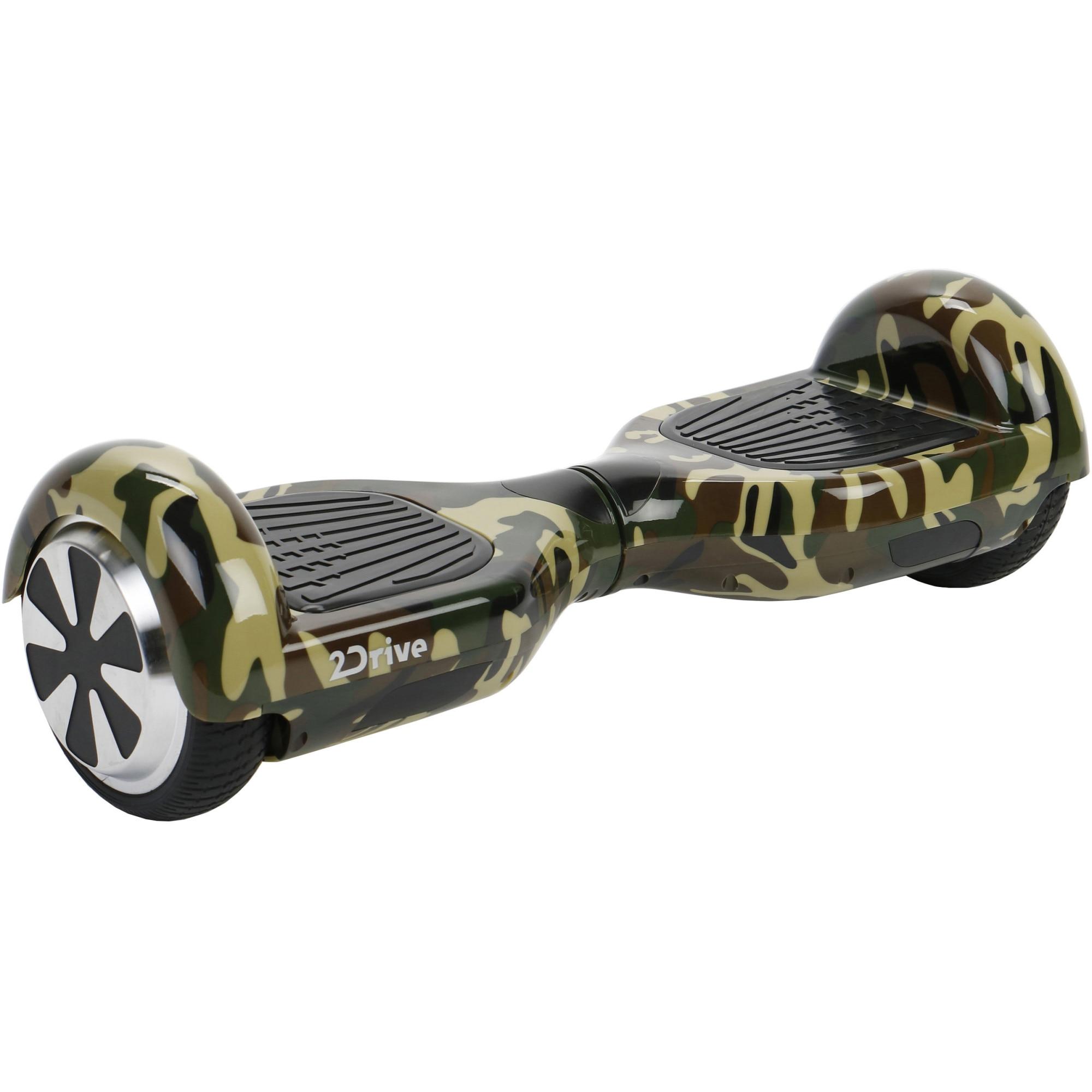 "Fotografie Scooter electric 2Drive, roti 6.5"", autonomie 15 km, viteza 10 km/h, putere motoare 500W (2 x 250), Bluetooth, difuzoare, geanta transport inclusa, Grafitti camouflage"