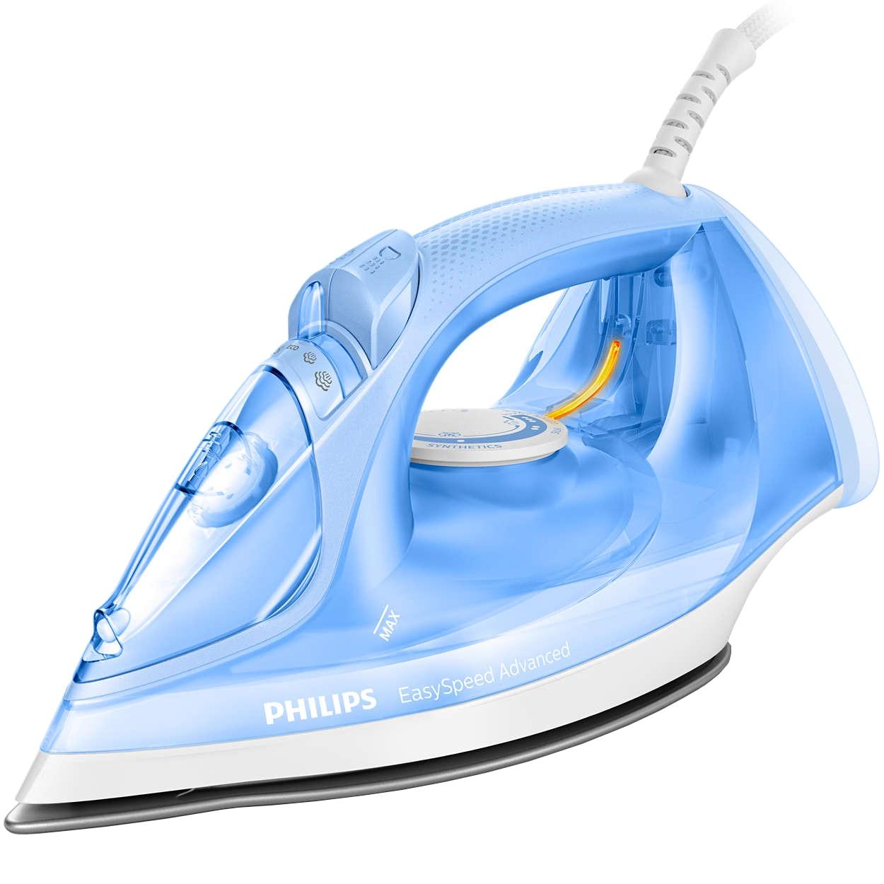 Fotografie Fier de calcat Philips EasySpeed Advanced GC2676/20, 2400W, 300 ml, 40 g/min, Jet de abur de 180 g, Sistem antipicurare, Talpa Ceramica, Albastru