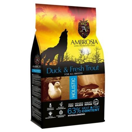 Суха храна за кучета Ambrosia Grain Free, Adult, Патешко и пъстърва, 12 кг