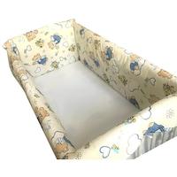 Maxi babaágy oldalvédő rögzíthető szett 120x60 cm Deseda Medve bézs háttéren