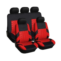 Калъфи/тапицерия за предни и задни цели седалки Flexzon, Пълен комплект, Универсални, Червено - Черни