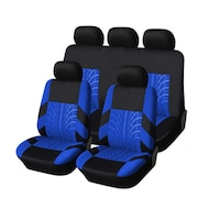 Калъфи/тапицерия за предни и задни цели седалки Flexzon, Пълен комплект, Универсални, Син - Черен