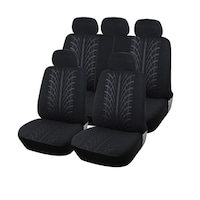 Калъфи/тапицерия за предни и задни цели седалки Flexzon, Пълен комплект, Универсални, Черни