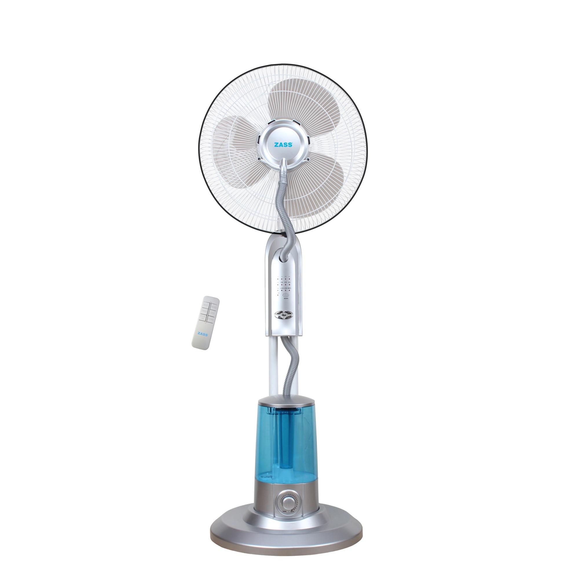 Fotografie Ventilator cu telecomanda si pulverizare apa Zass ZMF 02 Silver, 75 W, pulverizare super fina 320 ml/h, 3.2 L capacitate rezervor, 3 trepte