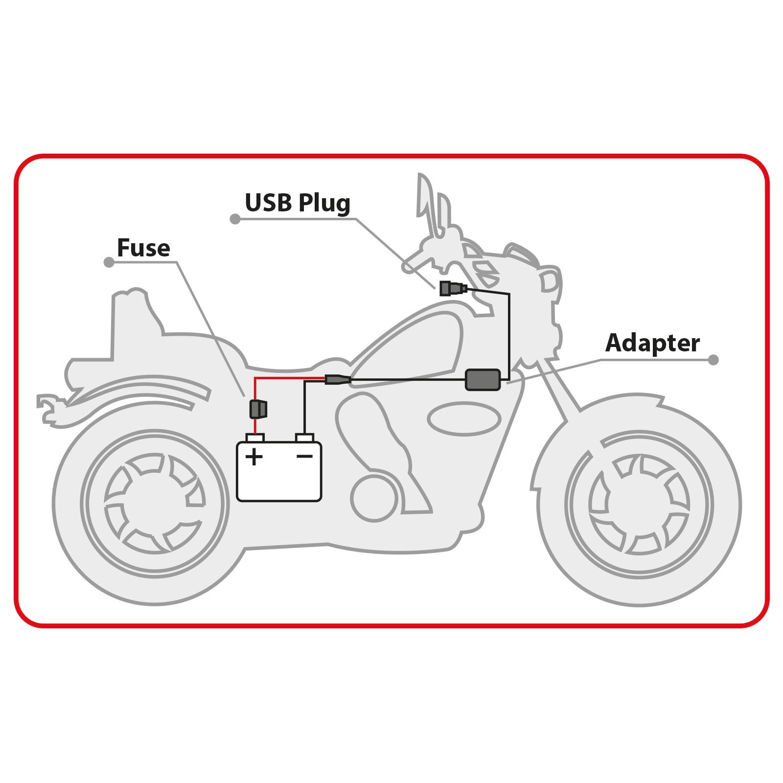 Delight USB PORT töltő tablet mobiltelefon töltő GPS töltő motoros töltő motorozáshoz 12V DC 20340 00086105