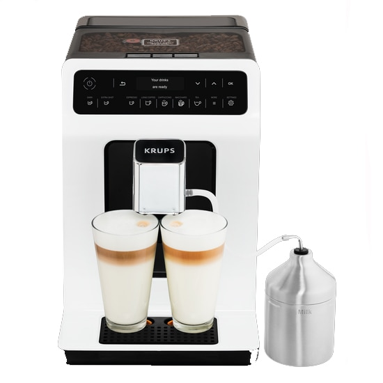 Fotografie Espressor Automat Krups Evidence EA891110 XS60000, 1450W, 15 bari, functie One-Touch Cappuccino, alb, display intuitiv, rezervor de apa de capacitate mare, Negru/Alb